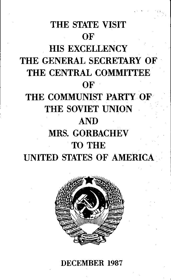Program cover for Mikhail Gorbachev's visit to the United States.