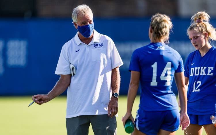 Duke Women's Soccer Coach Robbie Church said the content produced by Blue Devil Network is a key link between his program and the people that follow it. Photo courtesy of Duke Athletics.