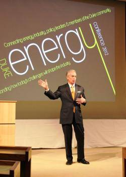 Jim Rogers, then-CEO of Duke Energy, spoke on the future of the energy industry at the Fuqua School of Business in 2012. Photo: Margaret Lillard