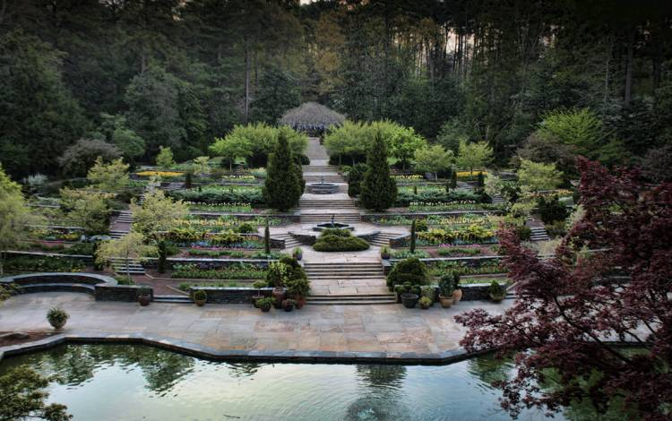 The terraces of the Sarah P. Duke Gardens are a popular spot for weddings and photo shoots. Photo by Rick Fisher.