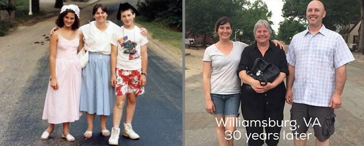 Jeannine Sato and her mother and brother pose for pictures at Colonial Williamsburg, one taken in 1987 and the other in 2017.