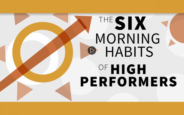 Six Morning Habits of Top Performers against a white backdrop