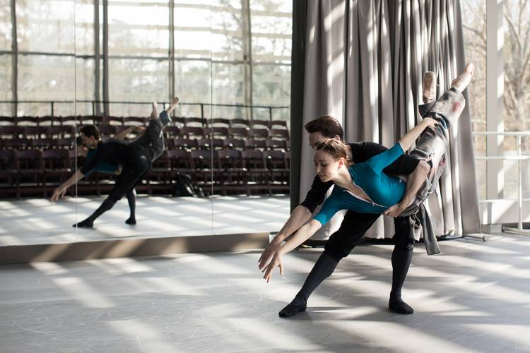 The ABT's Skylar Brandt and Joseph Gorak practice in the Rubenstein Arts Center. Photo by Alex Boerner