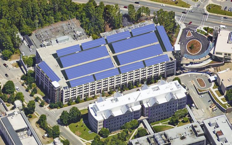 Aerial shot of what the garage will look like with solar panels.