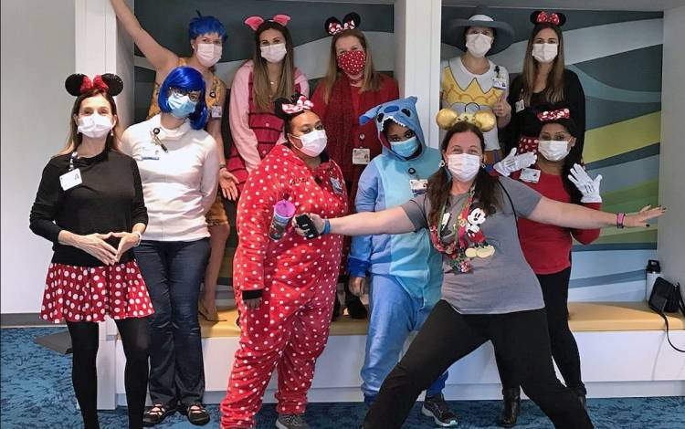 Taryn Baer-Shalev and her colleagues at Duke Primary Care Pediatrics at Holly Springs have maintained an upbeat spirit throughout the pandemic. Photo courtesy of Taryn Baer-Shalev.