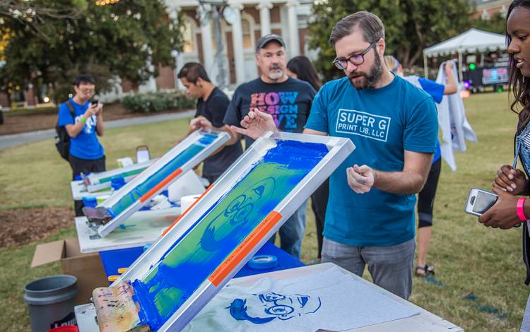 Kyle Fox designed an animation President Vincent E. Price's face, which was printed onto t-shirts at last fall's Pricepalooza.