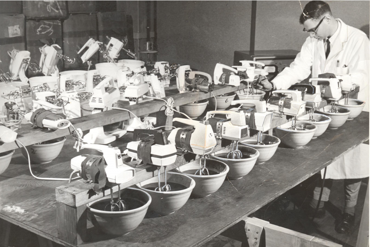 Putting electric kitchen mixers to the test (Consumer Reports photo, date unknown).