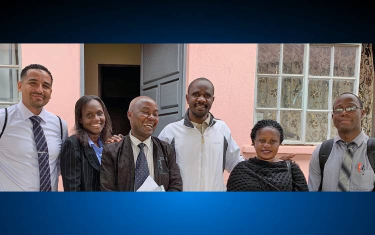 Tony Fuller, far left, with a team of health-care providers at an epilepsy clinic in Mbarara, Uganda. Photo courtesy of Tony Fuller.