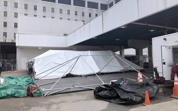 The frame for one of Duke Regional's four triage tents rests under the hospital's ambulance bay on March 19. Photo courtesy of Duke Regional Hospital.