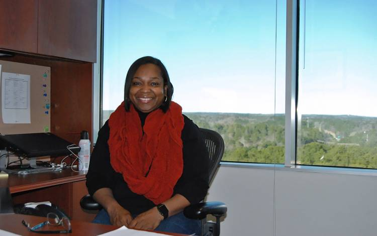 Lamez Williams of Duke Health Marketing & Communications team, enjoys her view from University Tower.