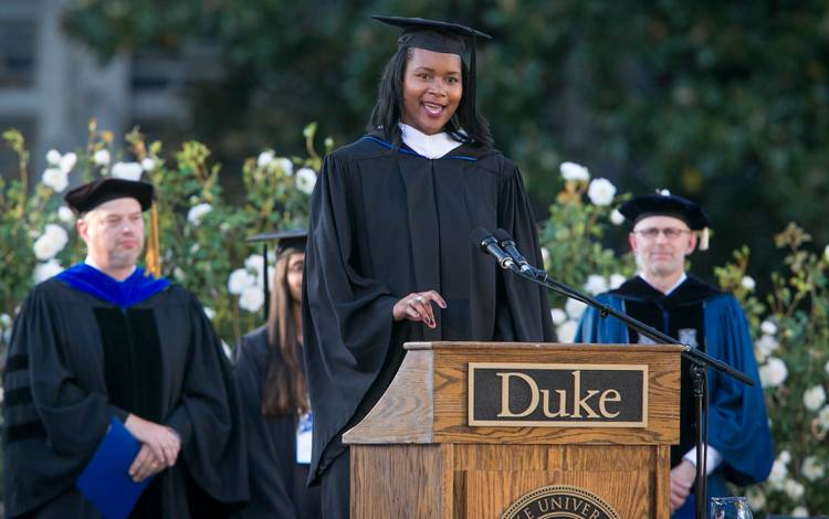 Victoria Bright said she does get nervous before speaking engagements, such as the inauguration of Duke President Vincent E. Price, but her preparation means she never lacks confidence. Photo courtesy of Duke Alumni Association.