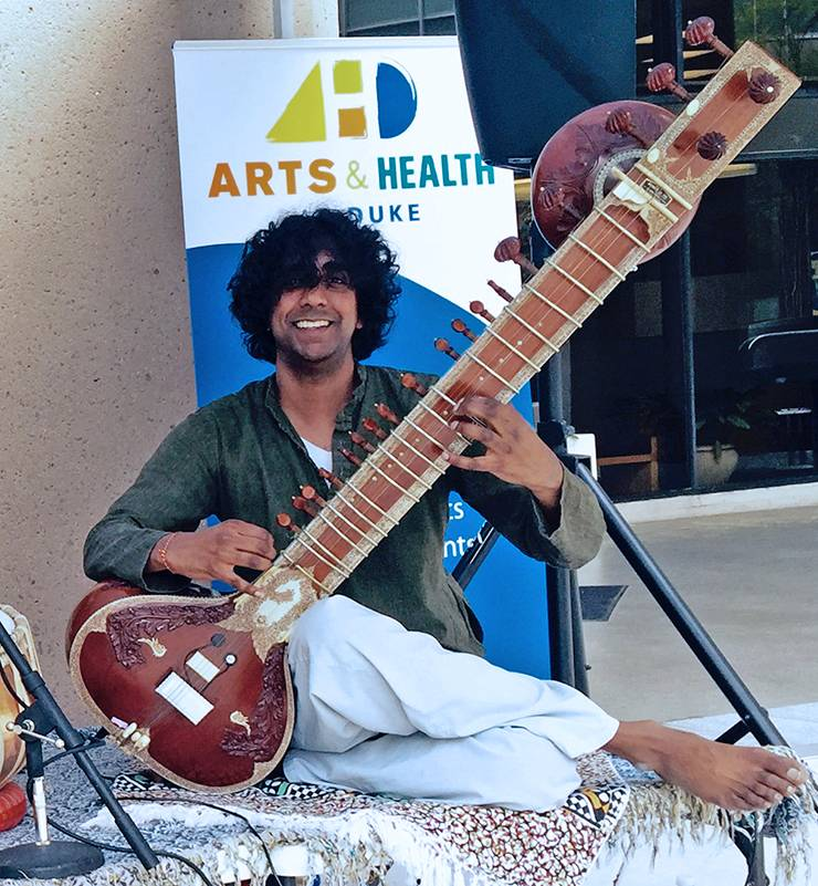 As part of the Arts & Health program at Duke, Viswas Chitnis will perform traditional Indian Raga music on the sitar in the concourse connecting the Duke Medicine Pavilion and Duke North Hospital.