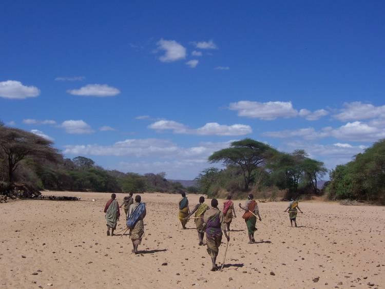 Hadza women walking in northern Tanzania. Photo by Alyssa Crittenden, University of Nevada, Las Vegas