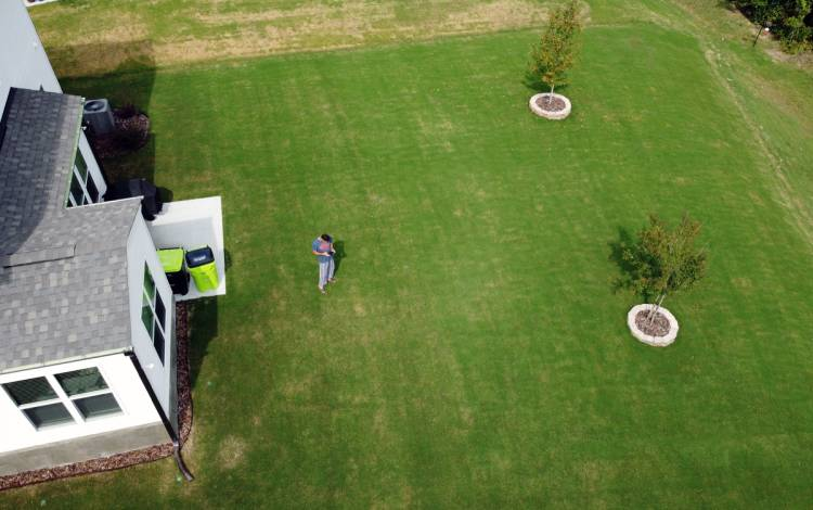 Muhammad Butt flies a drone over his yard. Butt said he loves the green landscape in North Carolina. Photo courtesy of Muhammad Butt.