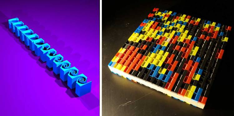 A series of colorful Lego-like pieces can be arranged into several grid shapes to manipulate acoustic waves.