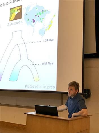 "Ivan Prates, from the Smithsonian National Museum of Natural History, did a talk called ""Integrating Species Inventories, Genetics, and Past Climates to Shed Light on the History of Amazonian Biodiversity."""