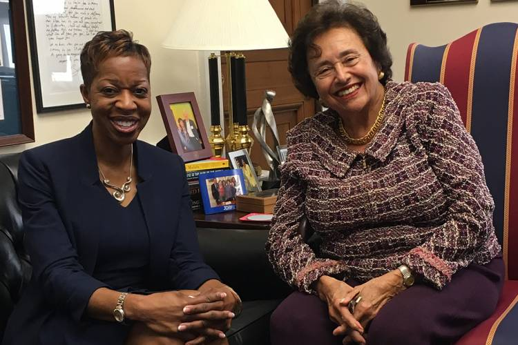Trinity College Dean Valerie Ashby meets with Representative Nita Lowey (D-NY). Photo by Colin Colter.