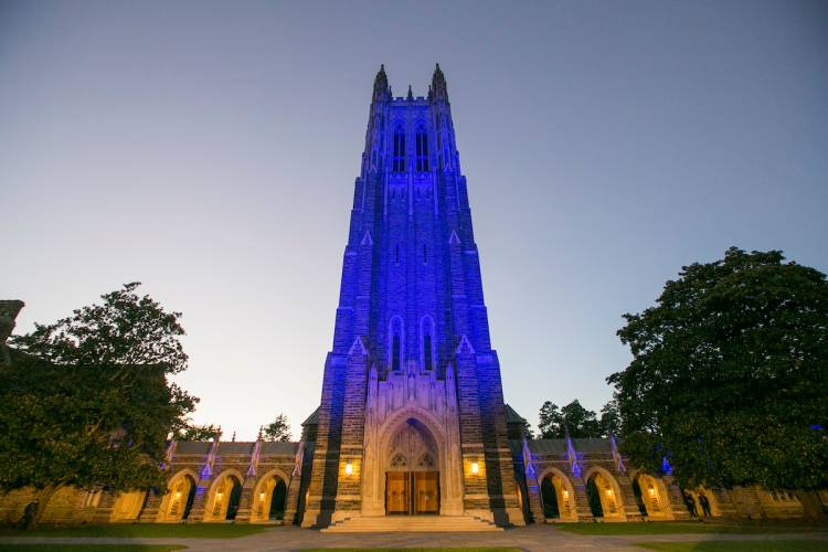 Following the inaugural, Duke lit the chapel a traditional Duke blue. Photo by Duke Photography