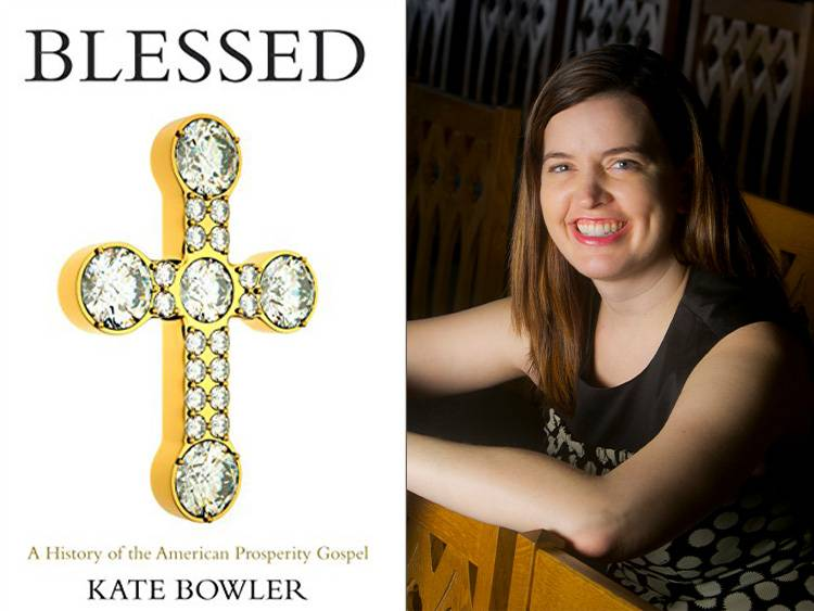 Blessed book cover and Kate Bowler side-by-side