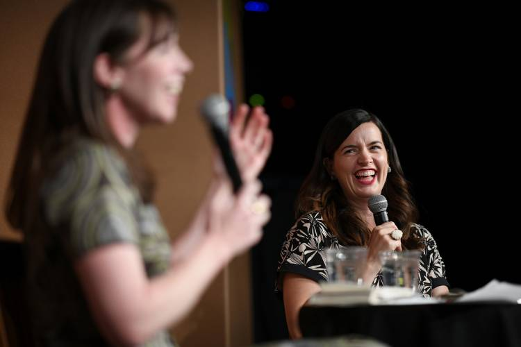 Kate Bowler, right, joined Lucy Kalanithi for a discussion about loss and humanity in health care.