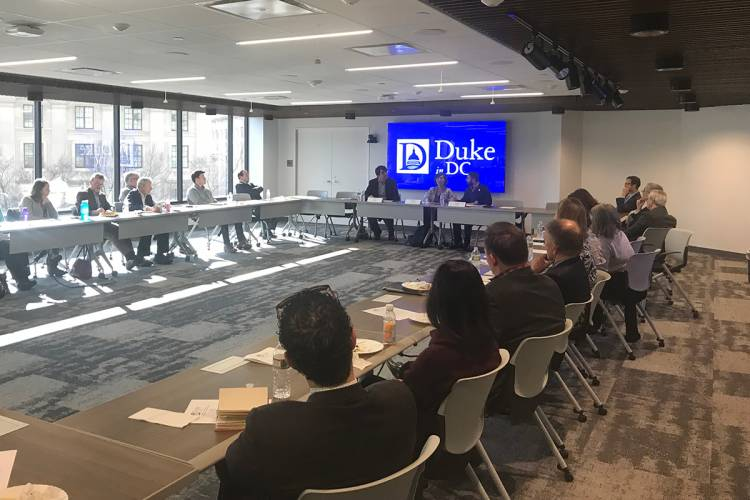 An audience of government officials and policy analysts attended the session at the Duke in DC office.