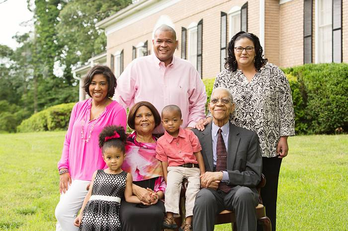 Samuel Dubois Cook with his family.