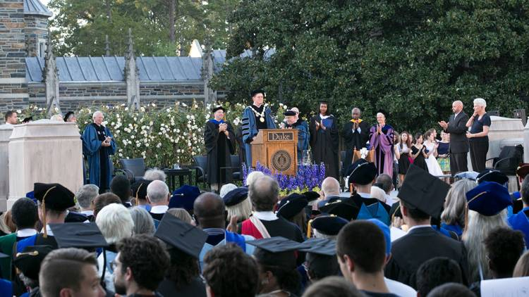 Vince Price delivers his inaugural address Thursday at the Abele Quad ceremony. Photo by Duke Photography