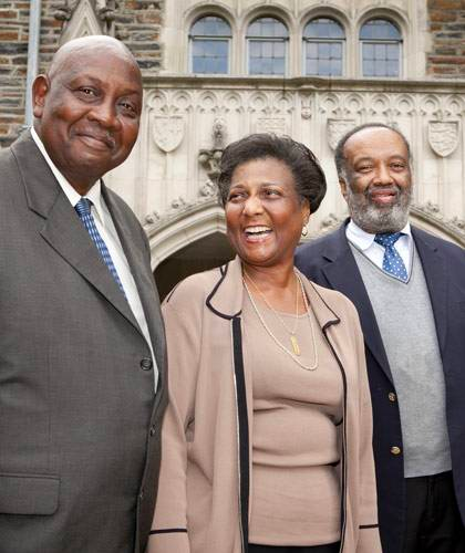 Gene Kendall, Wilhelmina Reuben-Cooke, and Nathaniel White, Jr. on campus in 2012 as part of a celebration of the anniversary of their arrival on campus.
