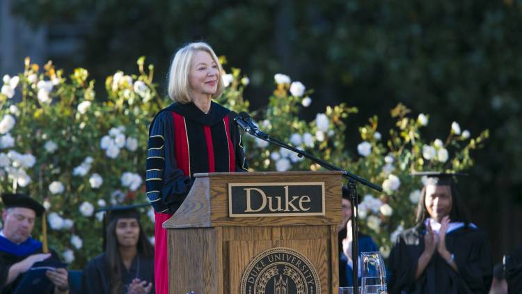 Amy Gutmann, president of the University of Pennsylvania, tells the Duke community how much it will value her Penn colleague Vince Price. Photo by Duke Photography