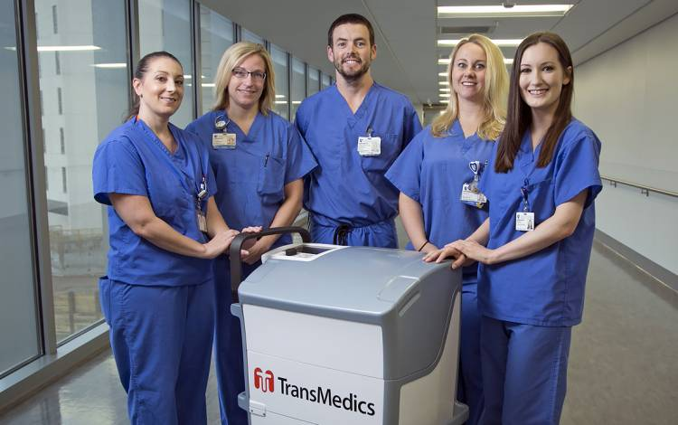 From left: Sarah Lowe, Missy Alberts, Trev Rowell, Sally Paul and Sarah Casalinova of the Duke Health transplant team.