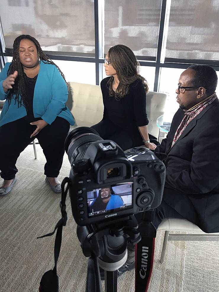 Mark Anthony Neal, right, interviews author and activist Brittney Cooper, left, and writer and commentator Melissa Harris-Perry in 2018.