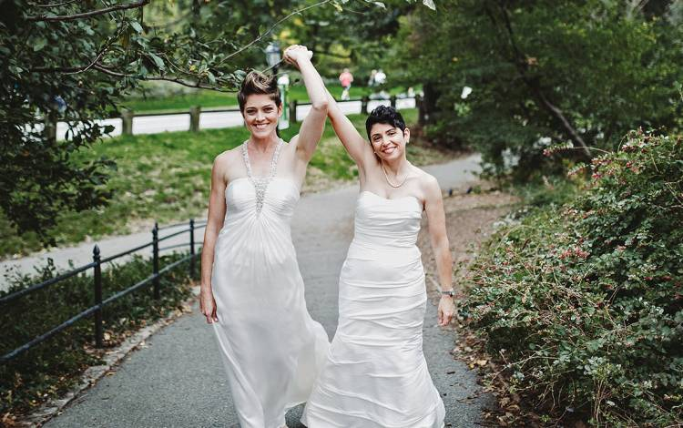 Heather and Leanora on their wedding day in New York City in 2014.