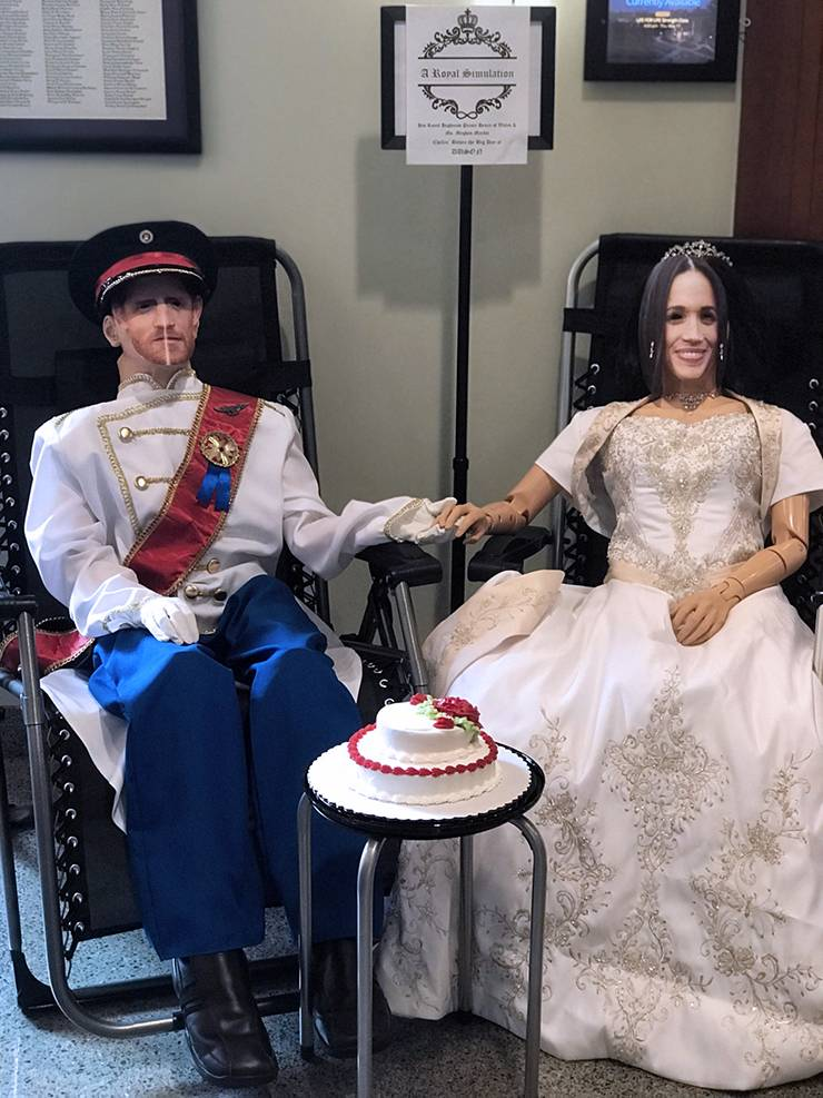 Manikins used for training are dressed up like Prince Harry and his bride Meghan Markle to celebrate this summer royal wedding. Photo courtesy of Margie Molloy.
