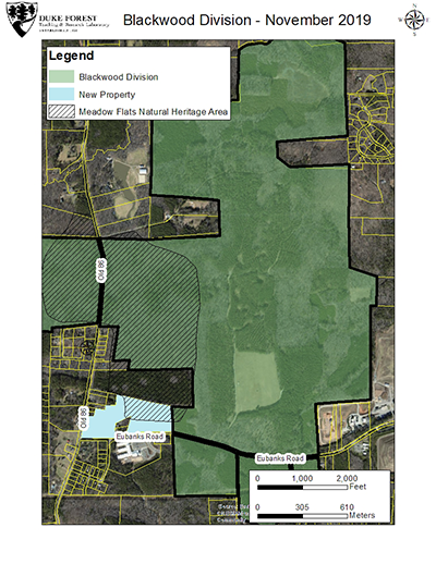 Map shows the new Meadow Flats addition to Duke Forest (lower left).