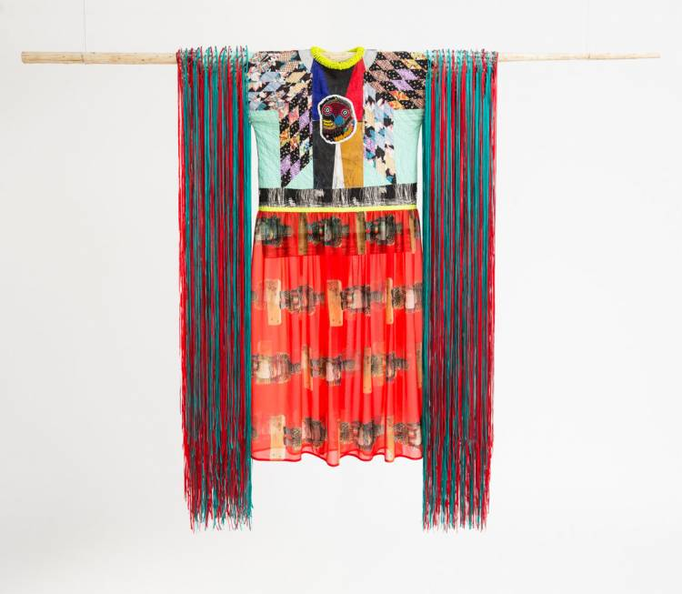 Jeffrey Gibson, Radiant Tushka, 2018. Repurposed quilt; assorted glass, plastic and stone beads; printed chiffon; nylon ribbon; canvas; acrylic paint; nylon fringe; copper, and artificial sinew.