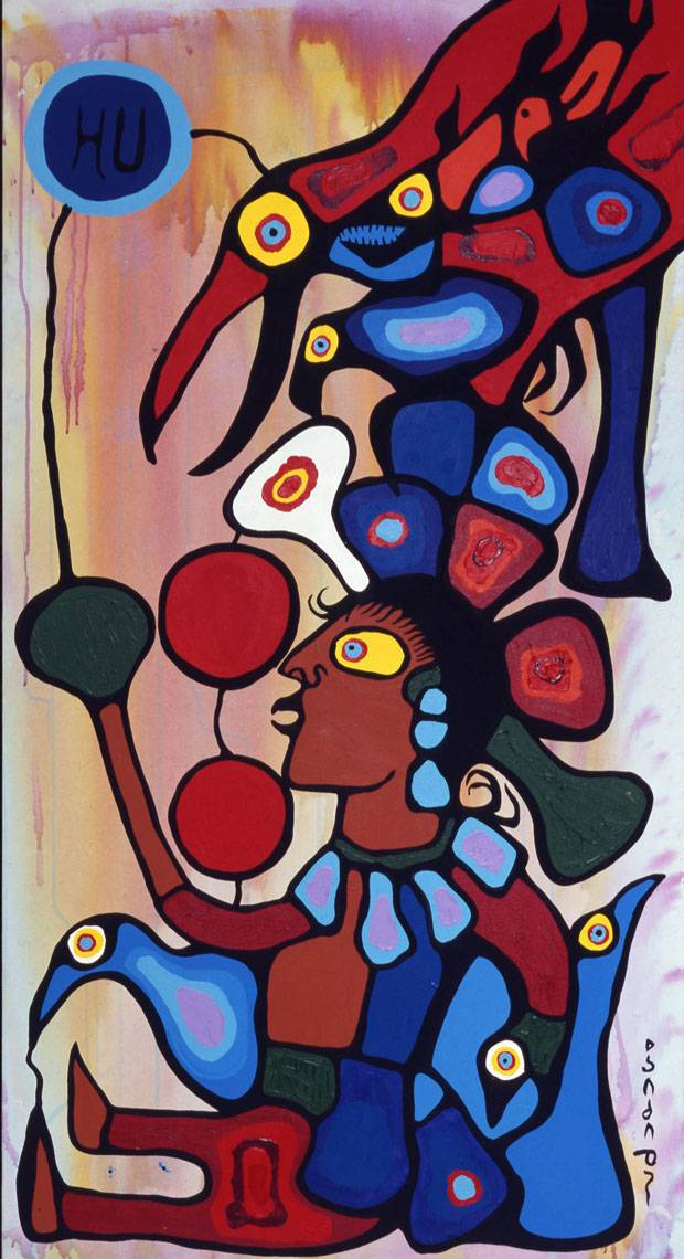 Norval Morrisseau, The Story Teller: The Artist and his Grandfather, 1978. Acrylic on canvas, two parts, each 69.5 x 38 inches (177 x 83.8 cm).