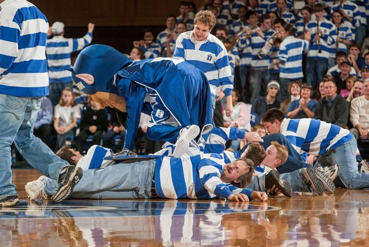 Steve Nowicki surf-rolls with the Duke Pep Band. Photo by Duke University Photography