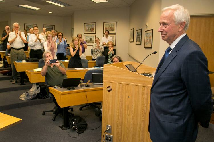 Faculty give President Brodhead a standing ovation Thursday at his last Academic Council session. Photo by Chris Hildreth/Duke Photography