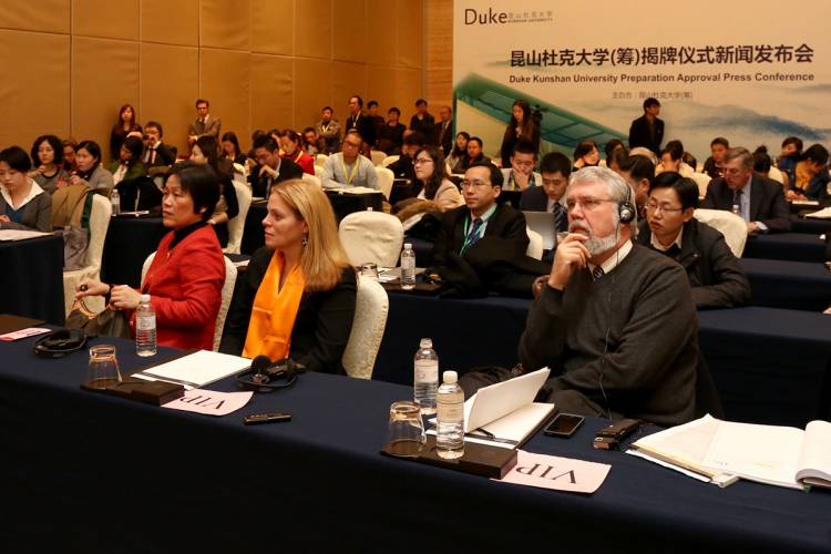 Jim Roberts at a press conference at Duke Kunshan University. Roberts was one of the Duke officials heavily involved in the planning for the university.