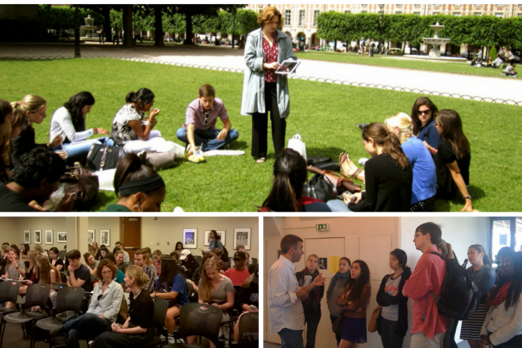 Sights from Romance Studies programs: Top: A class in Paris; Bottom: A class in Perkins and author Philippe Lançon talks with students.