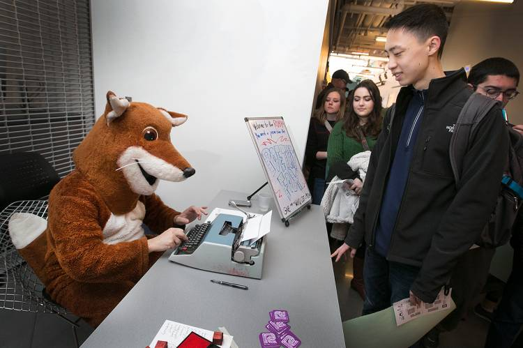 The popular Poetry Fox was on hand to dash off poems at visitors' requests.