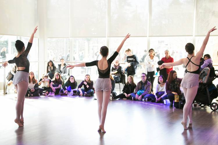 A student dance group showcases one of the performance spaces at the Ruby.
