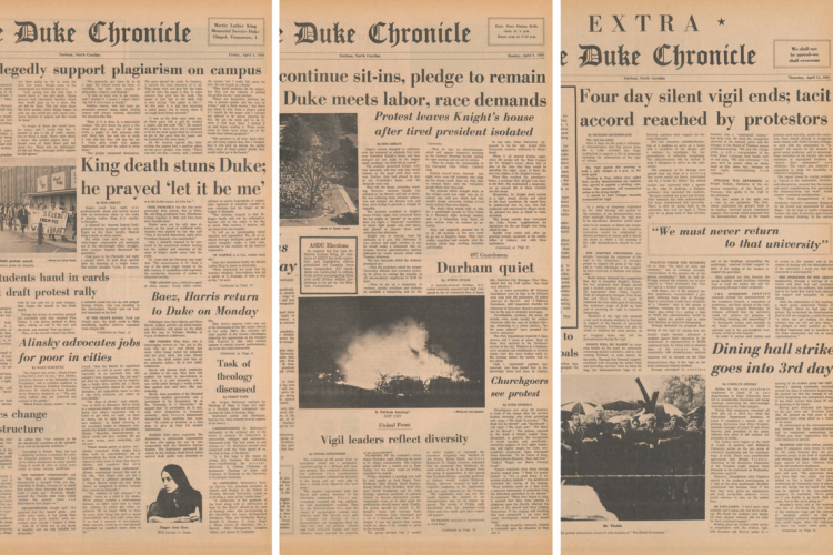 Duke Chronicle coverage of the 1968 Silent Vigil.