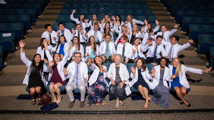 School of Medicine students at the school's white coat ceremony