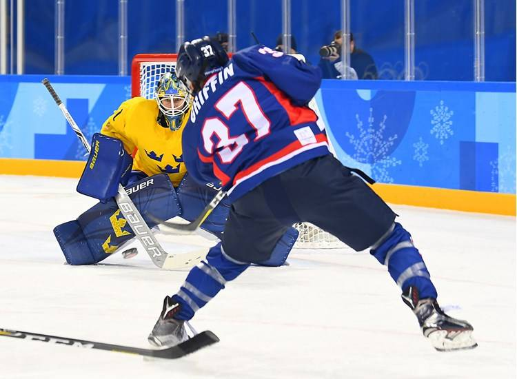 Duke graduate student Randi Griffin competed for the unified Korean women's hockey team at the 2018 Winter Olympics. Photo courtesy of the Korean Ice Hockey Association.