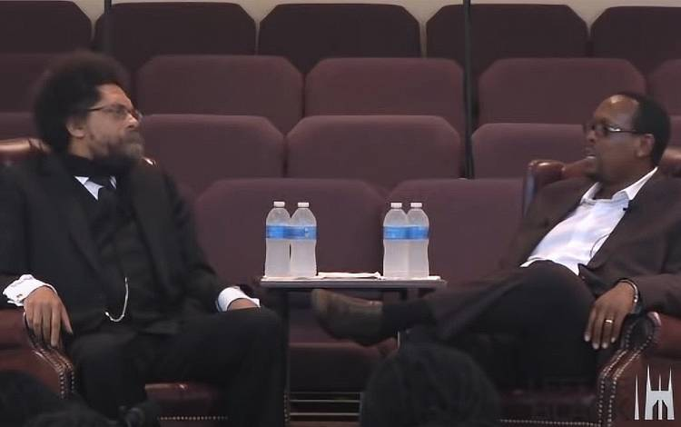 Philosopher Cornel West, left, and Mark Anthony Neal, right, speak during a 2011 episode of Left of Black.