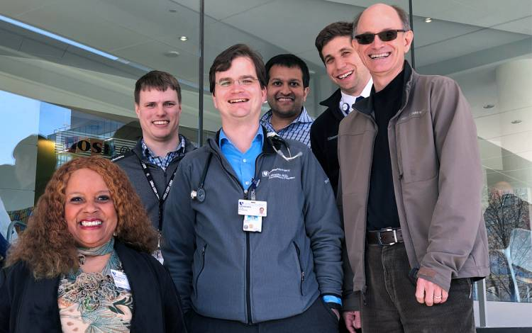 (Left to right) Beverly Hester,  Chris Hostler, Paul Riordan, Saumil Chudgar, Brian Wasserman and John Williams are some of the team members of Medicine_IM_Pheidippides. Photo courtesy of Paul Riordan.