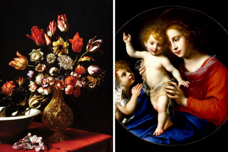 Vase of Tulips, Narcissi, Anemones and Buttercups with a Basin of Tulips, 1662. Right: The Virgin and Child with the Infant Saint John the Baptist, ca. 1635.