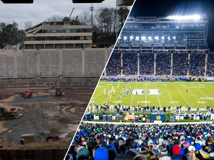 Wallace Wade Stadium Before and After Construction