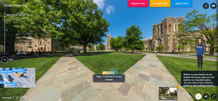 Each stop on the virtual tour provides additional information, photos and videos.